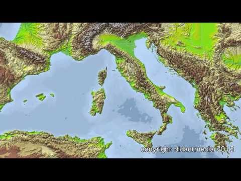 Europa im �berblick - der Westen - Italien - Gewässer, Gebirge und Inseln